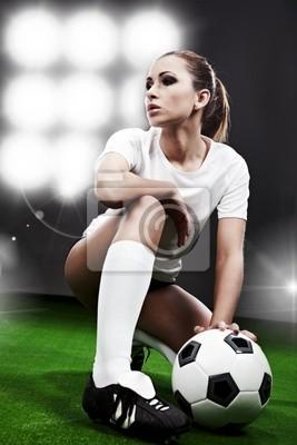 Fototapeta Sexy piłkarz, kobieta na stadion gry