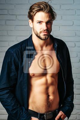 Fototapeta sexy przystojny mężczyzna mięśni
