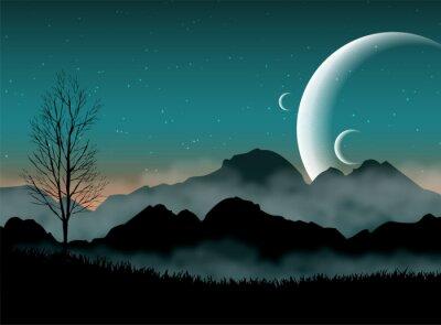 Fototapeta SF noc niebo przestrzeń z górami sylwetki i planet bliskich