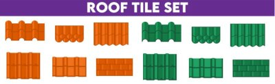 Fototapeta Shapes or profiles of roof tile Roof pattern sets.