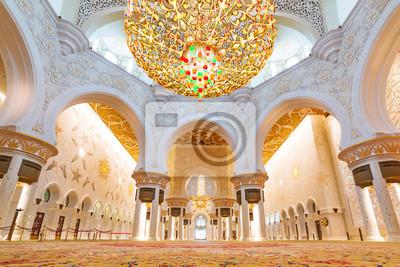Fototapeta Sheikh Zayed Grand Mosque wnętrze w Abu Dhabi, Zjednoczone Emiraty Arabskie