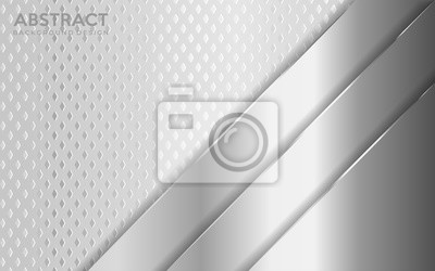 Fototapeta Shinny metal silver background combine with white textured overlap layer.