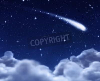 Fototapeta Shooting star w przestrzeni przez chmury