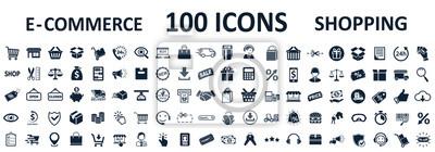 Fototapeta Shopping icons 100, set shop sign e-commerce for web development apps and websites - stock vector