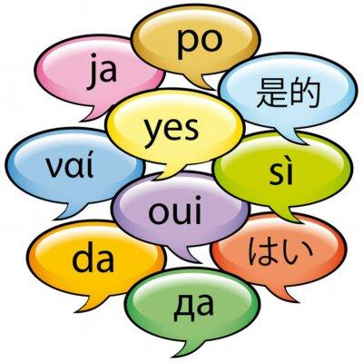 Fototapeta Sì w 10 lingue polu Fumetto dentro