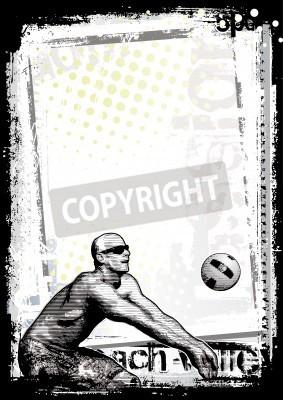 Fototapeta siatkówka plażowa tło plakatu 1