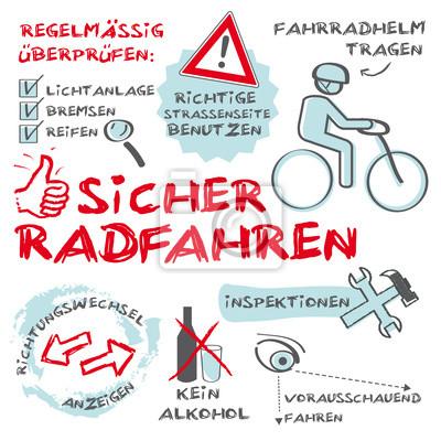Fototapeta Sicher Radfahren Sicherheit im Straßenverkehr Słowa