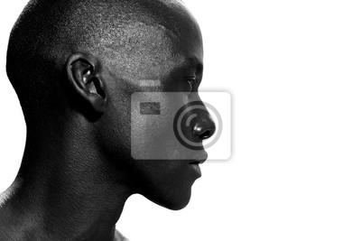 Fototapeta side portrait of african american man staring