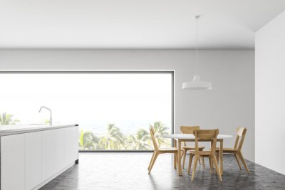 Fototapeta Side view of panoramic white kitchen with table