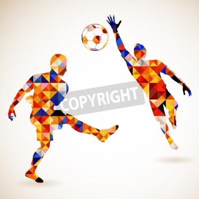 Fototapeta Silhouette Soccer Player i bramkarz w mozaiki wzorku, ilustracji wektorowych