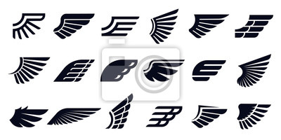 Fototapeta Silhouette wing icons. Bird wings, fast eagle emblem and decorative ornament angel wing stencil. Black tattoo sketch, airport logo or victory insignia. Isolated symbols vector bundle