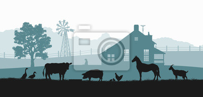 Fototapeta Silhouettes of farm animals. Rural landscape with cow, horse and pig. Village panorama for poster. Farmer house and livestock