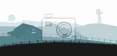 Fototapeta Silhouettes of farm landscape. Rural panorama of runch with cow on meadow. Village scenery for poster. Farmer house and livestock