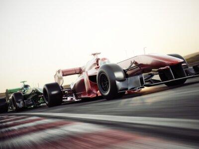 Fototapeta Silnik sporcie wyczynowym Racing Team. Szybko poruszające się samochody wyścigowe wyścigi w dół toru. Renderowania 3d. Z miejsca na tekst lub kopi