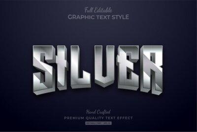 Fototapeta Silver Glow Editable Text Style Effect Premium
