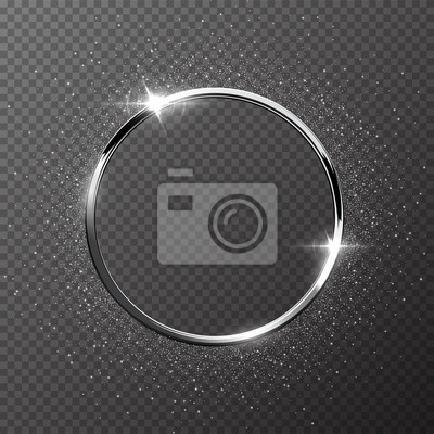 Fototapeta Silver sparkling ring with silver glitter isolated on transparent background. Vector metal frame.