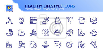 Fototapeta Simple set of outline icons about healthy lifestyle