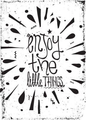 Fototapeta Simple vintage motivational poster, doodles, with grunge effects