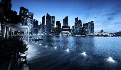 Fototapeta Singapur miasto w czasie zachodu słońca