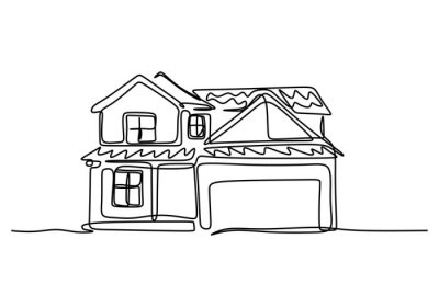 Fototapeta Single one line drawing of house with two floor. Home building construction isolated doodle minimal concept. Home exterior theme draw graphic design vector illustration on white background