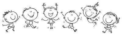 Fototapeta Six happy doodle kids in a row, outline