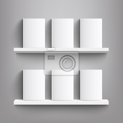 Fototapeta Six white books with blank covers on a bookshelf - realistic mockup of blank book covers standing on shelves