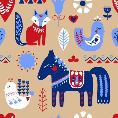 Skandynawski bez szwu wzór sztuki ludowej. Nordic style. Zwierzęta skandynawskie. Ilustracji wektorowych.