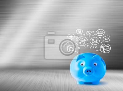 Skarbonka i niebieski Ikony projektowanie. Koncepcja oszczędności.
