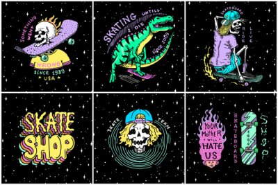 Fototapeta Skateboard shop stickers set. Dinosaur and skeletons ride on the boards badges. Fiery head and skull. Vintage retro labels for t-shirts and typography. Hand Drawn engraved sketch.