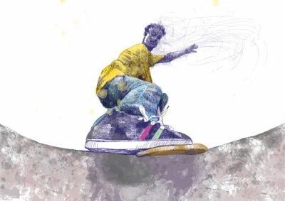 Fototapeta Skater - rysunek odręczny