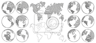 Fototapeta Sketch map. Hand drawn earth globe, drawing world maps and globes sketches isolated vector illustration