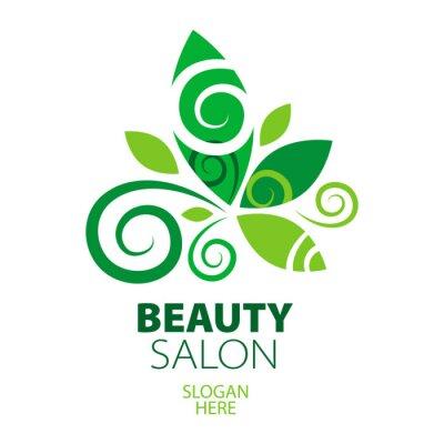 Fototapeta Skład zielonym logo liści na salonie piękności