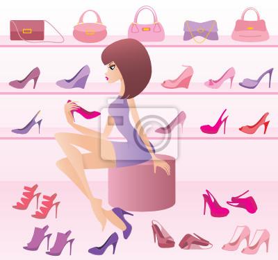 Sklep kobiecego obuwia. wektor, gradient