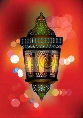 Fototapeta Skomplikowane arabski lampa z piękne światła w tle