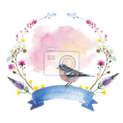 Sky ptak wróbel w dzikich wieniec według stylu akwareli izolowane. Dzika wolność, ptak z latające skrzydło. Aquarelle ptaków mogą być wykorzystane do tła, tekstury, wzór, ramki, obramowania lub tatuaż