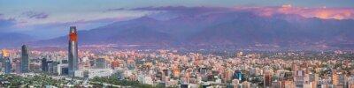 Fototapeta Skyline of Santiago de Chile from Cerro San Cristobal, sunset