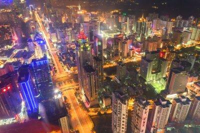 Fototapeta skyline, pejzaż nowoczesnego miasta Shenzhen w nocy