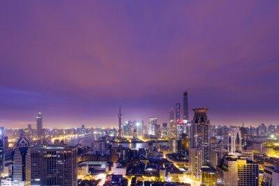 Fototapeta skyline, pejzaż współczesnego miasta w nocy, Shenzhen