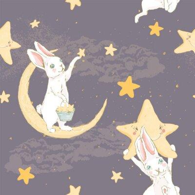 Fototapeta Śliczna ręka rysujący dziecko królik z gwiazdą nocy zostaje na księżyc i chmur bezszwowym wzorze