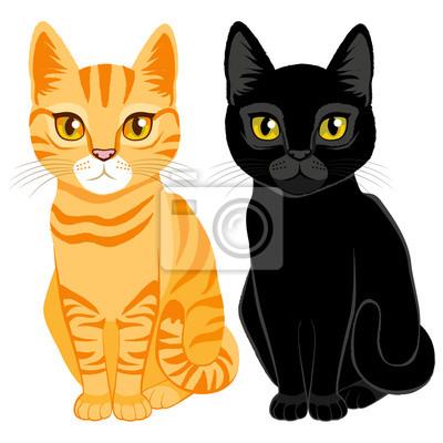 Fototapeta Śliczne koty na pomarańczowym pręgowany i kolorze czarnym z pomarańczowymi i żółtymi oczami