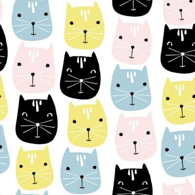 Fototapeta Śliczne koty twarzy szwu. Wektor dziecinne tło