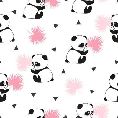 Fototapeta Śliczne pandy nosi szwu. Wektor tła.