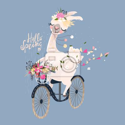 Bardzo dobra Fototapeta Śliczne romantyczne lamy, alpaki z wieńcem kwiatowym i UJ45