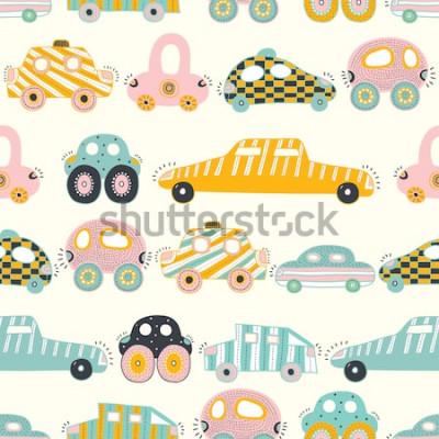 Fototapeta Śliczne samochody. Wektor wzór dla dzieci. Może być stosowany do tapet, tekstyliów, kart z zaproszeniami, zawijania, tła strony internetowej.