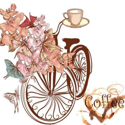 Fototapeta Śliczne wektor zaproszenie z kwiatów i fałszywych rowerze