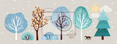 Fototapeta śliczne zimowe drzewa, wektor izolowane ilustracja drzew, liści, jodeł, krzewów, słońca, śniegu i chmur, obiektów sylwestrowych i świątecznych oraz elementów przyrody, aby stworzyć krajobraz