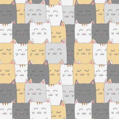 Fototapeta Ślicznej uroczej kot figlarki tła bezszwowa deseniowa tapeta