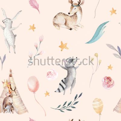 Fototapeta Śliczni rodzinni dzieci raccon, rogacz i królik. żyrafa zwierząt przedszkole i opatrzone ilustracja na białym tle. Akwarela boho raccon rysunek przedszkola wzór. Tło dla dzieci, projekt drukowania prz