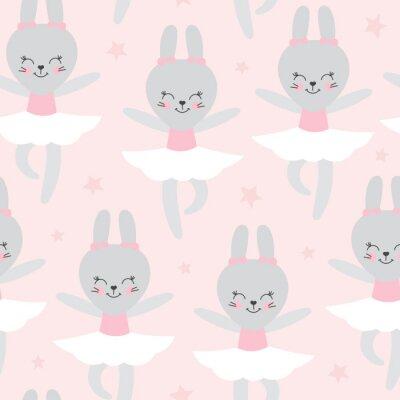 Fototapeta Śliczny dziecko wzór z małym królikiem. Kreskówka zwierzę dziewczyna wydrukować wektor bez szwu. Śliczny różowy tło z baleriny królik dla dziewczyny sukni tkaniny, pepiniera lub dzieci przyjęcie urodz