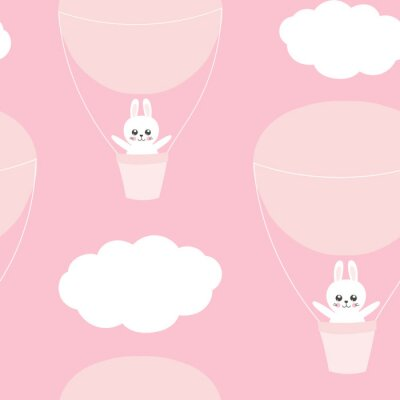 Fototapeta Śliczny dziecko wzór z małym królikiem. Kreskówka zwierzę dziewczyna wydrukować wektor bez szwu. Słodki różowy tło dla dzieci odzież tkaniny, pieluchy, dzieci sypialnia tekstylia, przedszkole, urodzin
